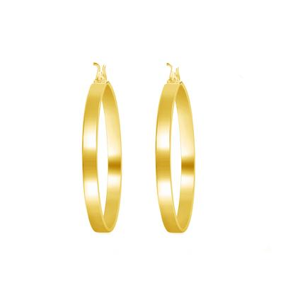 Gold Plated Sterling Silver Square Edge Hoops