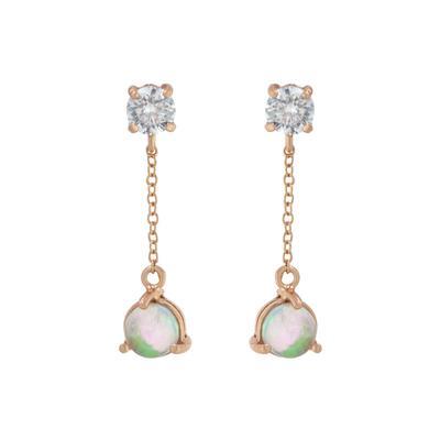 Rose Gold, White Opal & Cz Chain Drop Earrings