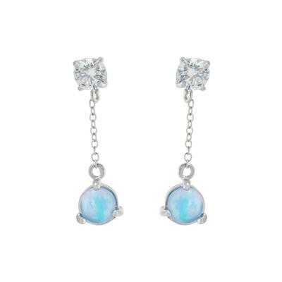 Sterling Silver, Blue Opal & Cz Chain Drop Earrings