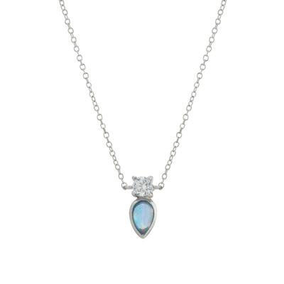 Dainty Cz & Pear Shaped Blue Opal Necklace