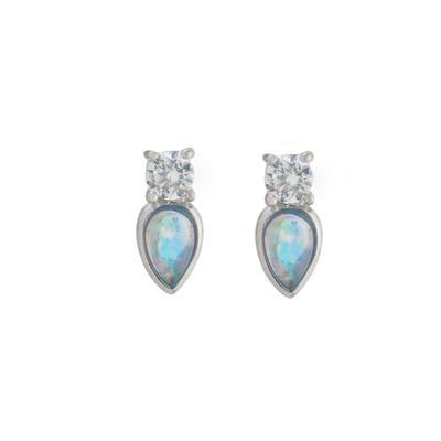 Dainty Cz & Pear Shaped Blue Opal Studs