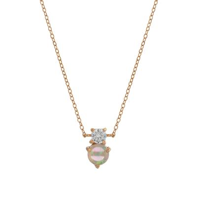 Rose Gold Dainty Cz & White Opal Necklace
