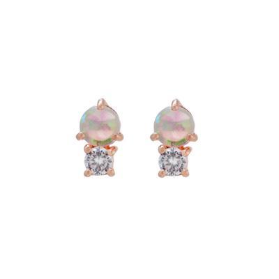 Rose Gold Dainty Cz & White Opal Studs