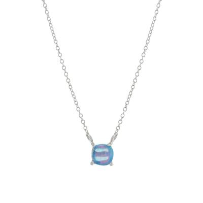 Small Blue Opal Square Necklace