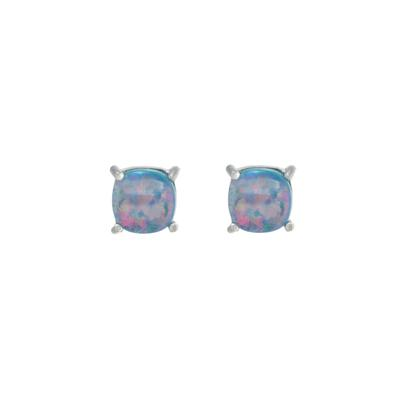 Small Blue Opal Square Studs
