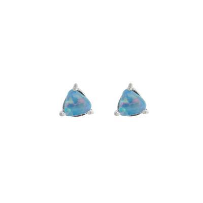 Small Blue Opal Triangle Studs