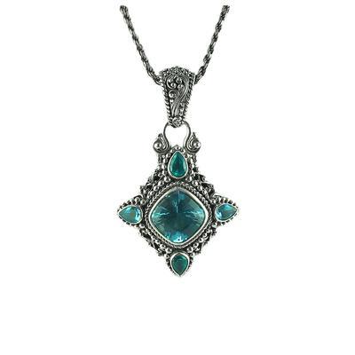 Sarda Sterling Silver, Blue Topaz & Green Parieba Mystic Topaz Necklace