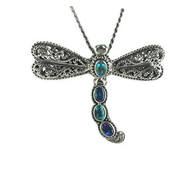 Sarda Sterling Silver, Swiss Blue Topaz & Sheer Luck Mystic Topaz Dragonfly Necklace