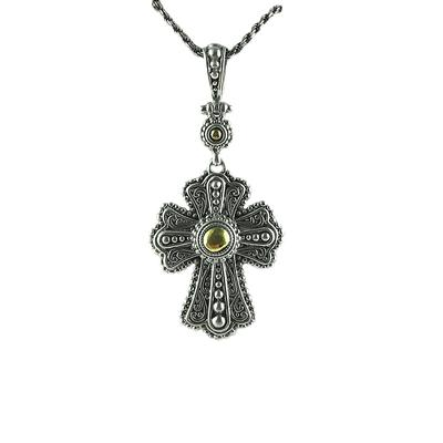 Sarda Sterling Silver & Gold Ornate Cross Necklace