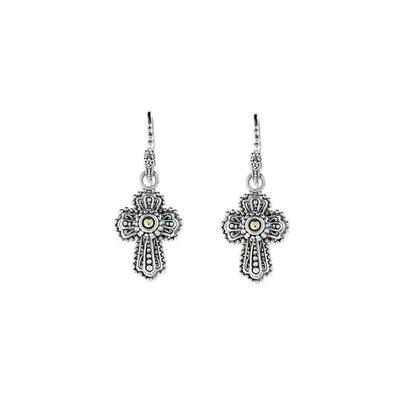 Sarda Sterling Silver & Gold Ornate Cross Earrings