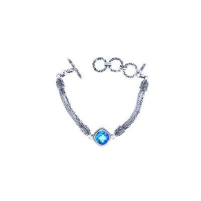 Sarda Sterling Silver & Caribbean Quartz Toggle Bracelet