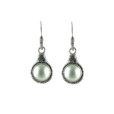 Sarda Sterling Silver & Cultured White Mabe Pearl Earrings