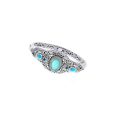 Sarda Sterling Silver & Mexican Turquoise Quartz Bangle