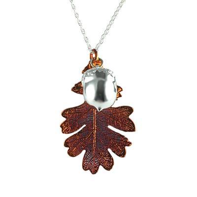 Iridescent Copper Oak Leaf & Silver Acorn Necklace