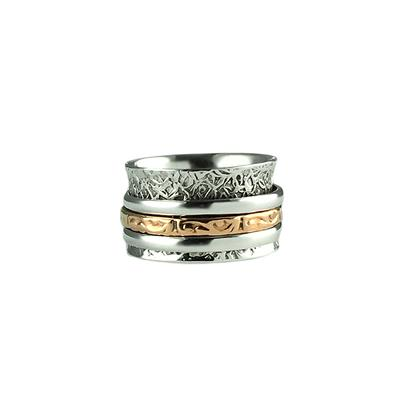 Sterling Silver & Copper Textured Spinner Ring