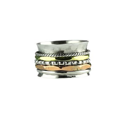 Sterling Silver, Brass & Copper Detailed Spinner Ring