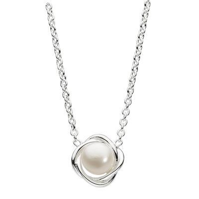 Kit Heath Sterling Silver & White Pearl Twist Necklace