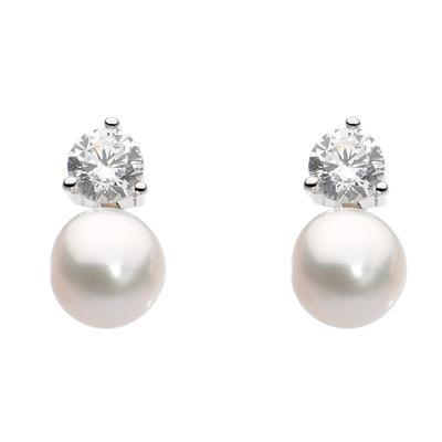 Kit Heath Sterling Silver Stacked Cz & White Pearl Studs