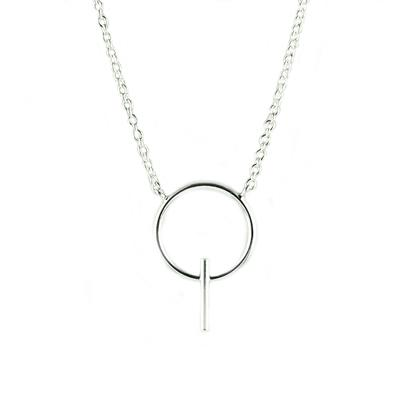 Tashi Sterling Silver Fine Wire Circle Bar Necklace