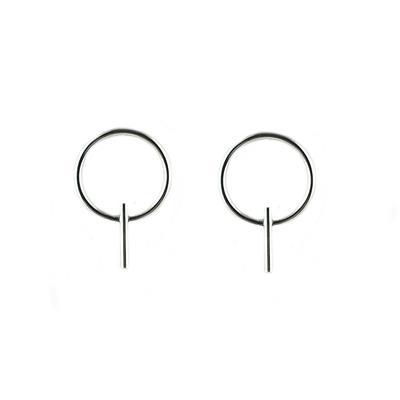 Tashi Sterling Silver Fine Wire Circle Bar Stud