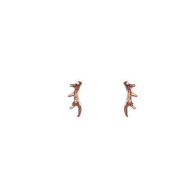 Mimi & Marge Small Rose Gold Vermeil Antler Studs