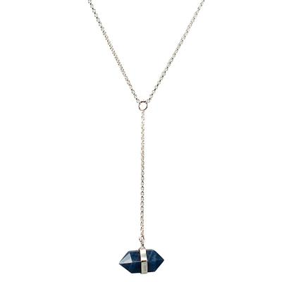 Mimi & Marge Sterling Silver Sapphire Wrap Y Necklace