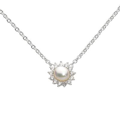 Kit Heath Sterling Silver Pointed Flower Cz & White Pearl Necklace