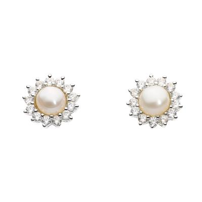 Kit Heath Sterling Silver Pointed Flower Cz & White Pearl Studs