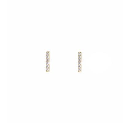 Gold Vermeil & Cz Mini Bar Studs