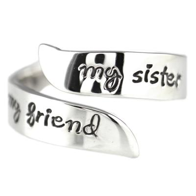 Far Fetched Adjustable Sterling Silver Sister, Friend Ring