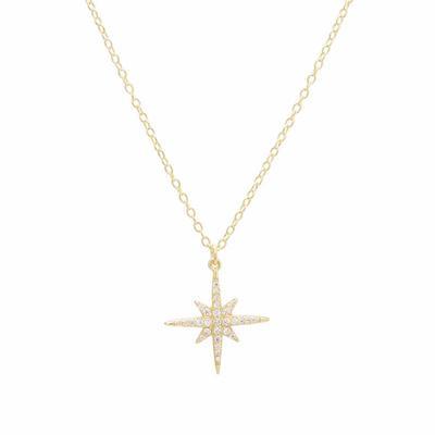 Gold Vermeil & Cz Starburst Necklace
