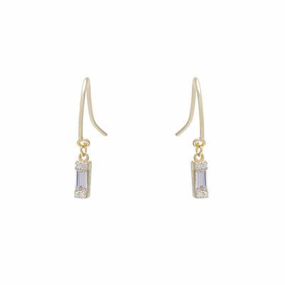 Gold Vermeil & Baguette Cz Drop Earring