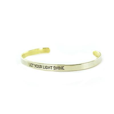 Let Your Light Shine Narrow Alpaca Metal Cuff Bracelet