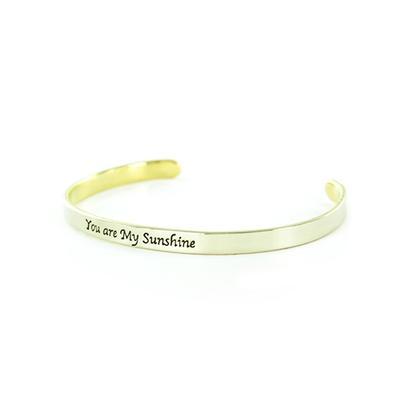 You Are My Sunshine Narrow Alpaca Metal Cuff Bracelet