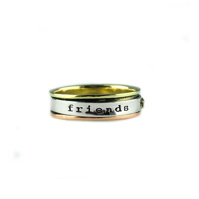 Far Fetched Sterling Silver, Brass & Copper Friends Forever Spinning Ring