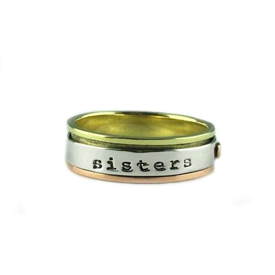 Far Fetched Sterling Silver, Brass & Copper Sisters Forever Spinning Ring
