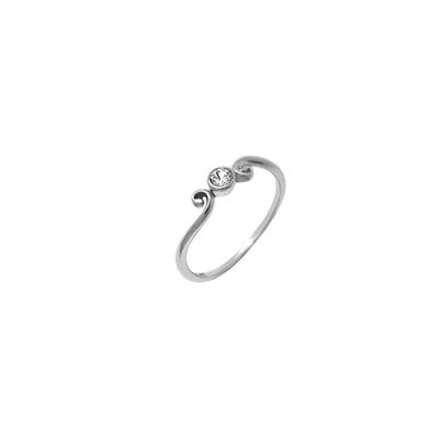 Boma Sterling Silver & Cz Curve Ring