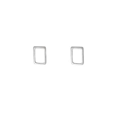 Boma Sterling Silver Open Rectangle Studs