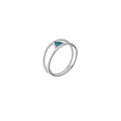 Boma Sterling Silver & Turquoise Triangle Split Shank Ring