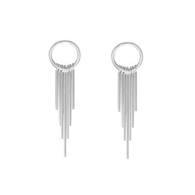 Boma Sterling Silver Small Circle Tassel Earrings