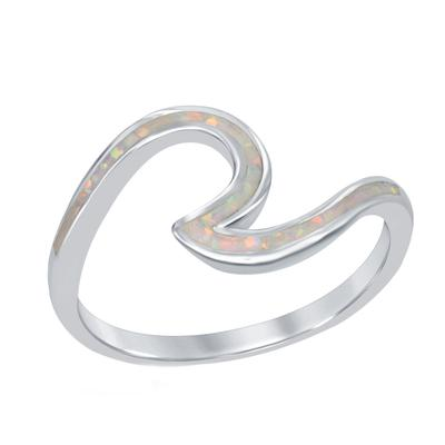 Sterling Silver & White Opal Wave Ring
