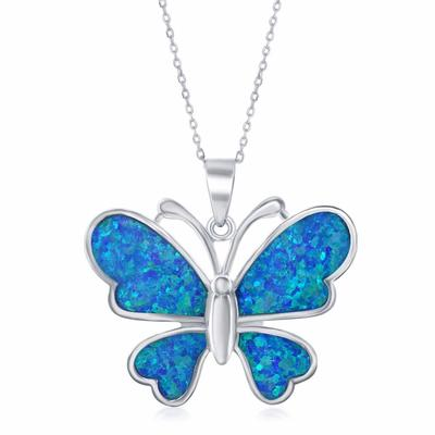 Sterling Silver & Blue Opal Butterfly Necklace
