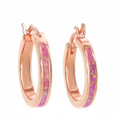 Rose Gold & Pink Opal Inlay Hoops