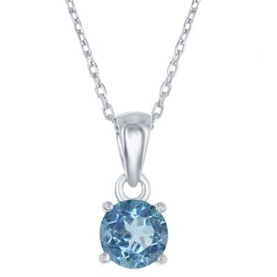 Sterling Silver & Swiss Blue Topaz December Birthstone Necklace