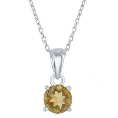 Sterling Silver & Citrine November Birthstone Necklace