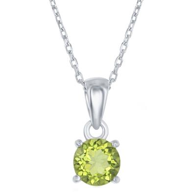 Sterling Silver & Peridot August Birthstone Necklace