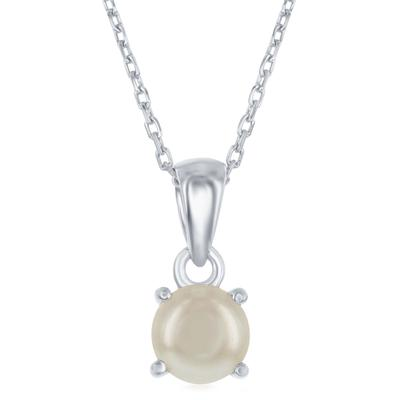 Sterling Silver & Pearl June Birthstone Necklace