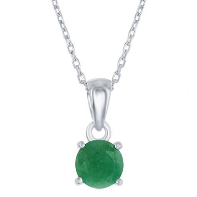 Sterling Silver & Emerald May Birthstone Necklace