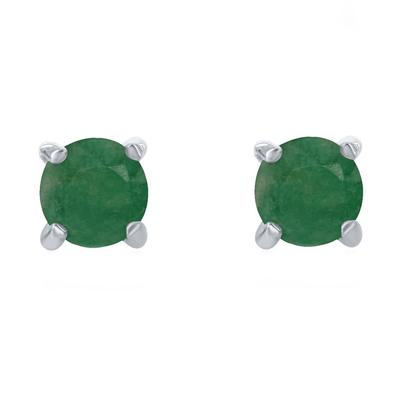Sterling Silver & Emerald May Birthstone Studs