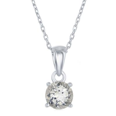 Sterling Silver & White Topaz April Birthstone Necklace